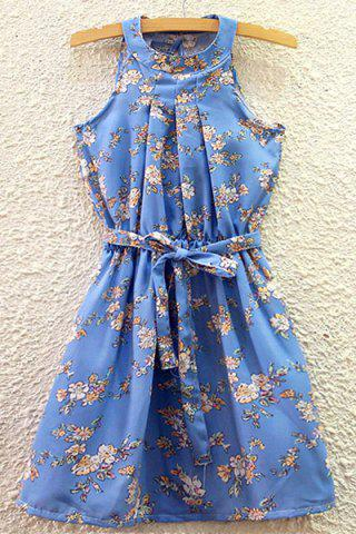 Fashion Refreshing Round Collar Floral Print Belted Summer Dress For Women