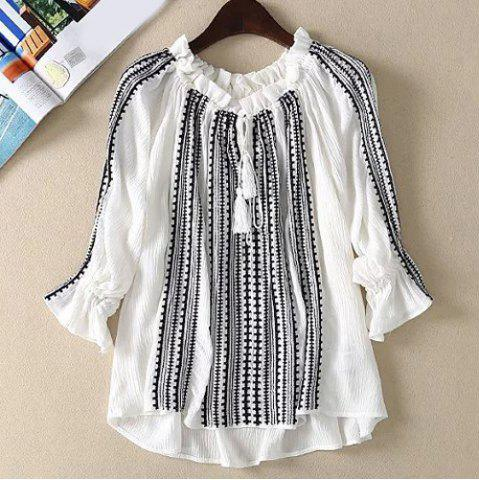 Chic Ruffled Neck Tassel Embroidered Blouse