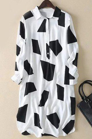 Affordable Stylish Long Sleeve Geometric Pattern Color Block Women's Shirt Dress