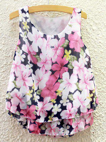 Buy Sweet Scoop Neck Flower Print Chiffon Tank Top For Women