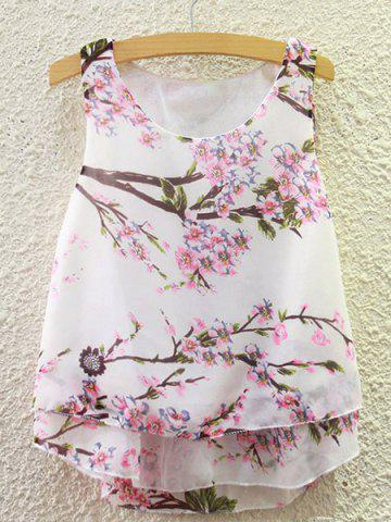 Sale Sweet Scoop Neck Peach Blossom Print Tank Top For Women