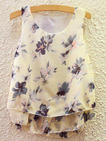 Chic Sweet Scoop Neck Flower Print Tank Top For Women