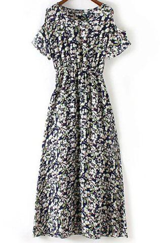 Hot Chic Round Neck Cold Shoulder Tiny Floral Print Women's Dress