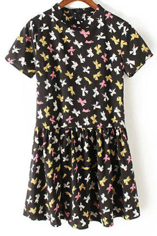 Sale Trendy Mock Neck Short Sleeve Bowknot Print Women's Dress