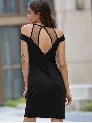 Shop Women's Stylish Round Neck Voile Splicing Hollow Out Dress