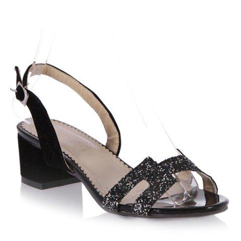 Store Fashionable Chunky Heel and Sequined Design Sandals For Women