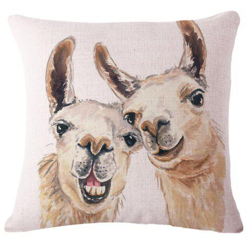 Best Retro Animal Watercolor Alpaca Pattern Square Shape Flax Pillowcase (Without Pillow Inner)