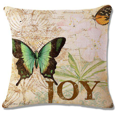 Outfit Retro Letter Butterflies Pattern Square Shape Flax Pillowcase (Without Pillow Inner) - CELADON  Mobile