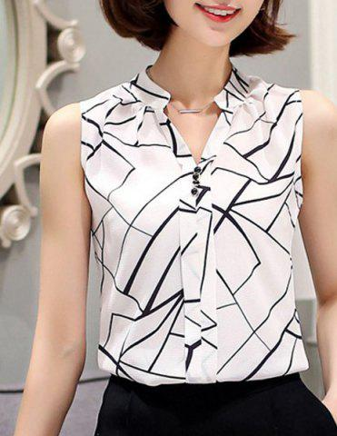 Cheap Fashionable V-Neck Sleeveless Printed Chiffon Blouse For Women