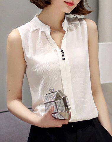 Outfit Fashionable V-Neck Sleeveless Solid Color Chiffon Blouse For Women