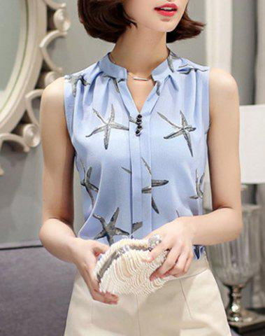 Fashion Fashionable V-Neck Sleeveless Star Print Chiffon Blouse For Women