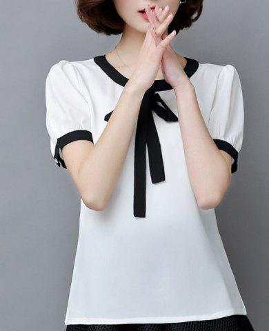 Best Fashionable Bow Tie Collar Short Sleeve Chiffon Blouse For Women