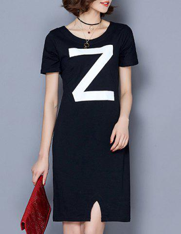 Latest Fashionable Scoop Neck Short Sleeve Letter Print Dress For Women
