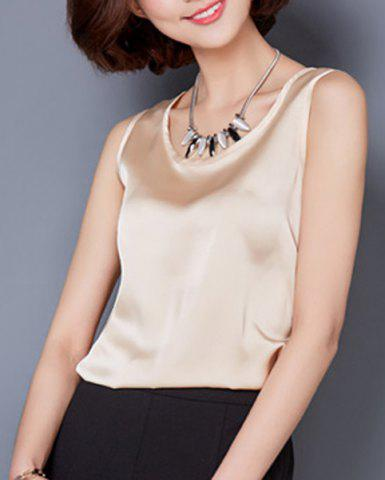 Latest Fashionable Scoop Neck Solid Color Tank Top For Women
