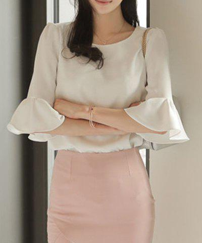 Chic Simple Round Neck Bell Sleeve White Blouse For Women