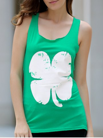 Trendy Refreshing Clover Printed Loose Tank Top For Women