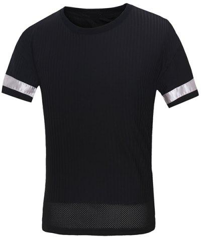 Unique Vogue Round Neck Letters Embroidered Spliced Design Short Sleeves T-Shirt For Men