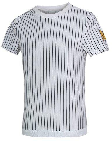 Buy Vogue Round Neck Letters Applique Short Sleeves Fitted Striped T-Shirt For Men