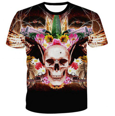 Fancy Men's Fashion Pullover Flower Skull Printed T-Shirt