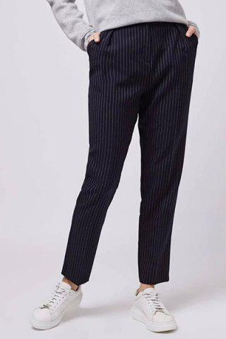 Online Casual High Waist Striped Pencil Pants For Women