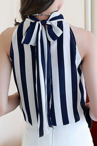 Discount Chic Stand Collar Sleeveless Striped Self-Tie Chiffon Blouse For Women