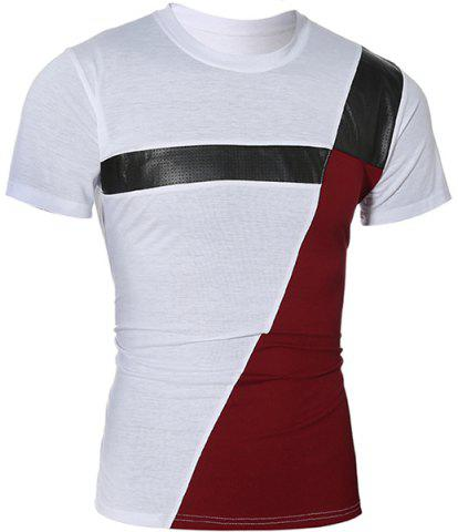 Discount Trendy Round Neck Color Block PU-Leather Spliced Short Sleeve Men's T-Shirt WHITE XL