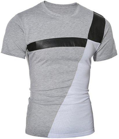 Color Block PU Leather Panel Short Sleeve T-Shirt - Gray - Xl