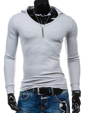 Unique Slimming Hooded Solid Color Long Sleeves T-Shirt For Men - 2XL LIGHT GRAY Mobile