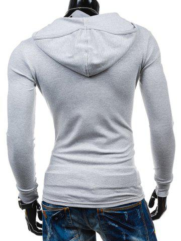 Sale Slimming Hooded Solid Color Long Sleeves T-Shirt For Men - 2XL LIGHT GRAY Mobile