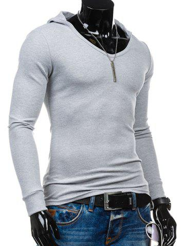 Best Slimming Hooded Solid Color Long Sleeves T-Shirt For Men - 2XL LIGHT GRAY Mobile