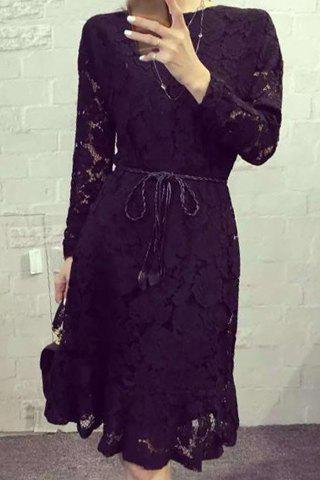 Affordable Elegant Round Collar Long Sleeves Tie Belt Lace Dress For Women