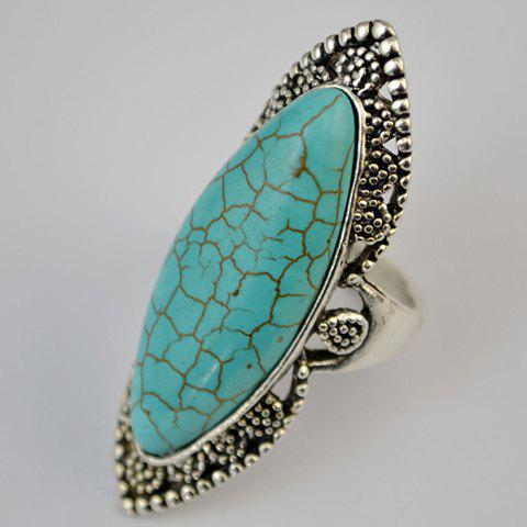 Shops Stylish Faux Turquoise Hollow Out Mid Finger Ring - GREEN  Mobile