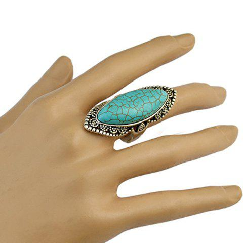 Hot Stylish Faux Turquoise Hollow Out Mid Finger Ring - GREEN  Mobile