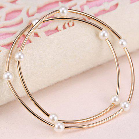 Cheap Faux Pearls Alloy Pendant Bracelet - ROSE GOLD  Mobile