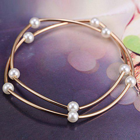 Chic Faux Pearls Alloy Pendant Bracelet - ROSE GOLD  Mobile
