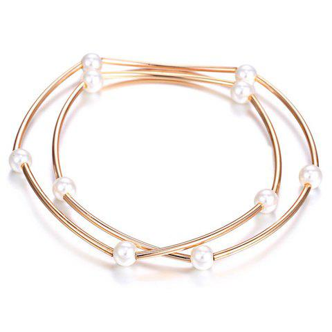 Outfit Faux Pearls Alloy Pendant Bracelet - ROSE GOLD  Mobile