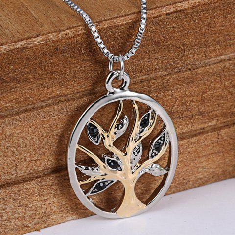 Store Retro Tree Hollow Out Pendant Necklace SILVER