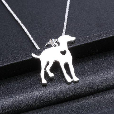 Chic Dog Heart Hollow Out Pendant Necklace SILVER