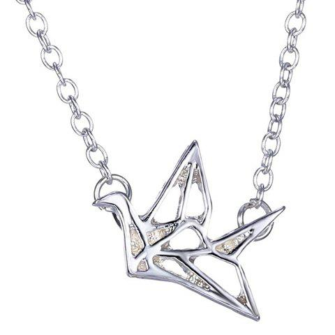 Discount Stylish Paper Crane Hollow Out Alloy Pendant Necklace For Women