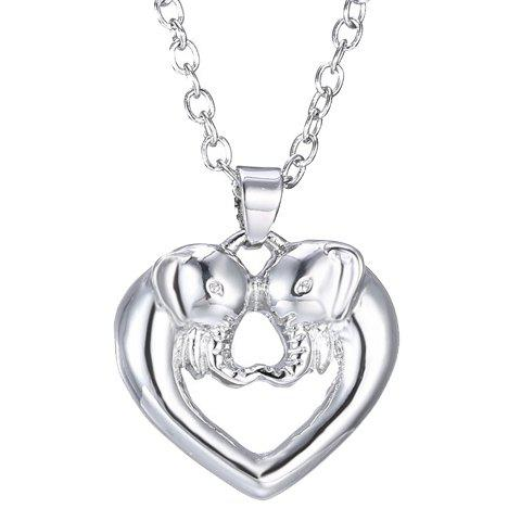 New Hollow Out Heart Elephant Alloy Pendant Necklace SILVER
