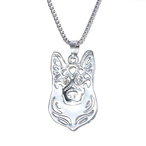 Online Hollow Out Herding Dog Alloy Pendant Necklace SILVER