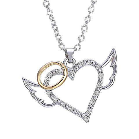Discount Rhinestoned Carving Heart Wings Alloy Pendant Necklace