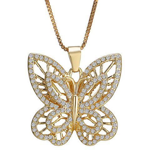 Hot Hollow Out Rhinestoned Butterfly Necklace