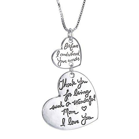 Outfit Alloy Double Hearts Letters Pendant Necklace