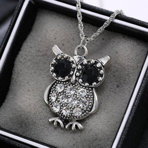 Discount Vintage Rhinestone Owl Necklace - SILVER  Mobile