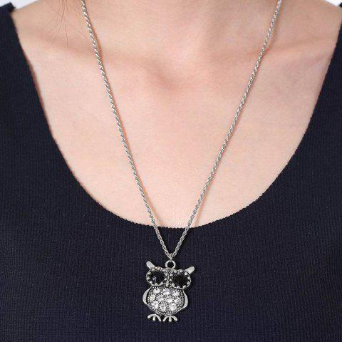 Outfits Vintage Rhinestone Owl Necklace - SILVER  Mobile