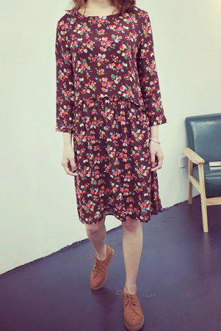 Affordable Sweet Jewel Collar Long Sleeve Floral Print Dress For Women