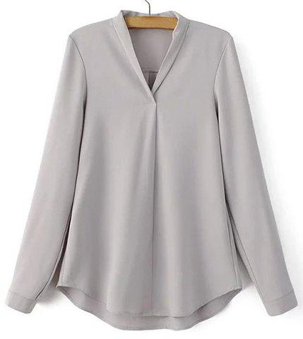 Fashion Fashionable V-Neck Long Sleeve Solid Color Shirt For Women