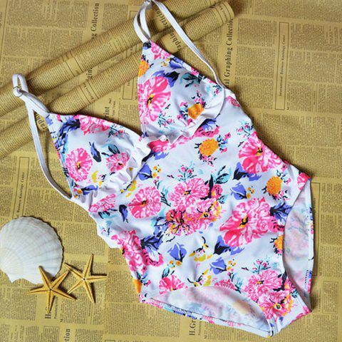 Sale Floral Ruffle Strap One Piece Swimwear COLORMIX S