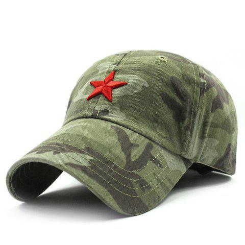 Cheap Stylish Five-Pointed Star Shape Embroidery Camouflage Pattern Baseball Cap For Men